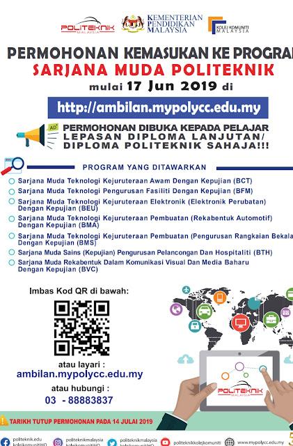 Permohonan Sarjana Muda Politeknik Sesi September 2019