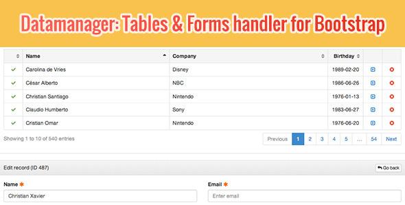 DataManager: Tables & Forms handler for Bootstrap v1.0