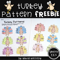 Thanksgiving Math FREEBIE: Turkey Patterns (Worksheets com win both a primary & upper elementary version). Fun, free activities that can be made into a bulletin board/wall display.