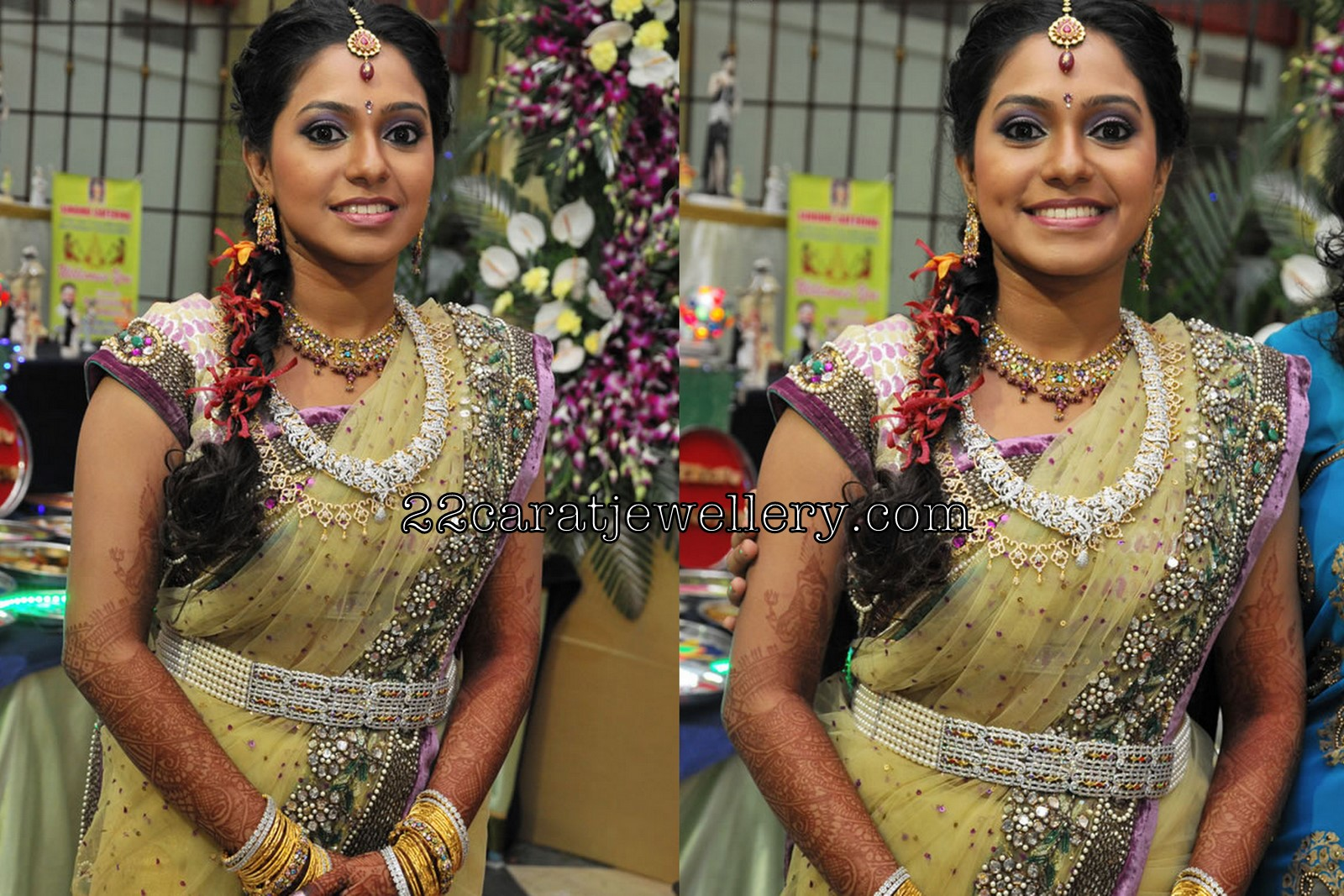 Aparna Pillai In Diamond Long Chain At Her Wedding Reception