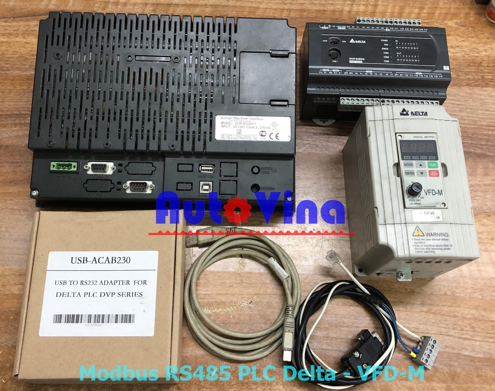 Tài liệu hướng dẫn lập trình PLC Delta DVP32ES200T điều khiển biến tần qua truyền thông Modbus RS485
