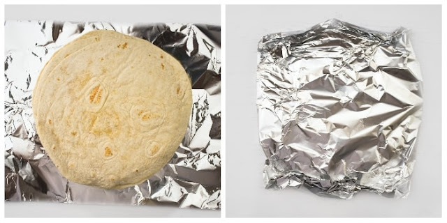 STEP 3 - Tortillas wrapped in foil (to be warmed in the oven)