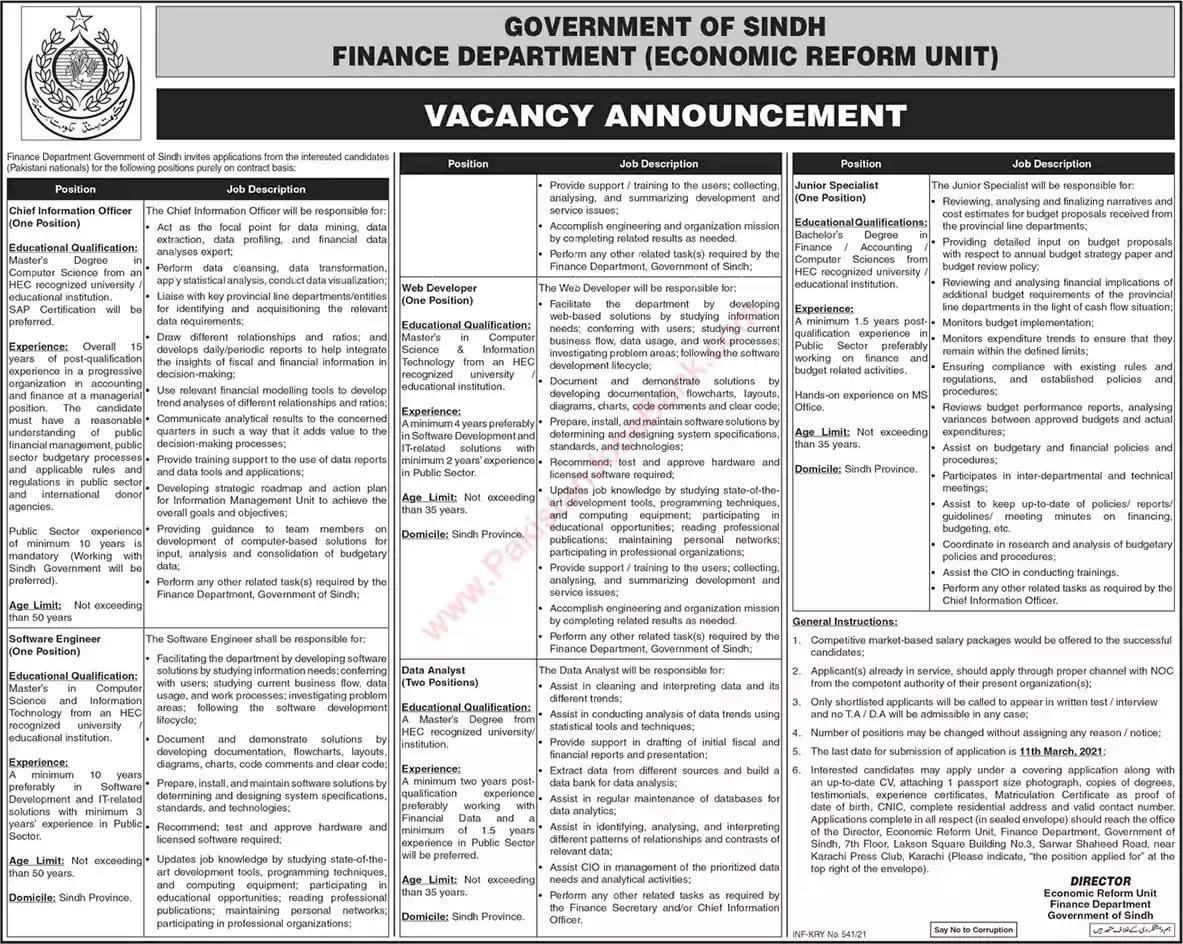 Latest Jobs in Pakistan in Finance Department Sindh Jobs 2021