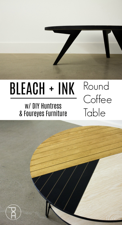 A modern oak coffee table collaboration between DIY Huntress Foureyes Furniture and Pneumatic Addict Learn how to design build  finish a bleached oak and India ink DIY round table