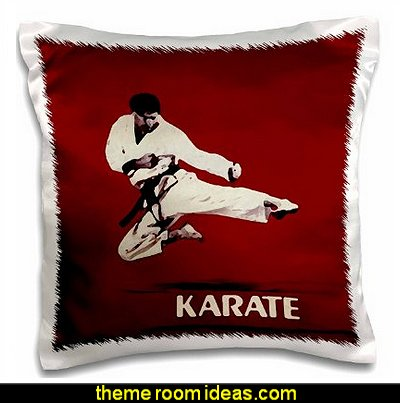 Karate - Karate -  Pillow Case  martial arts theme bedrooms - Karate bedroom ideas - Martial Arts bedroom decor - Martial Arts Bedding - Kung Fu Fighting - Oriental style decorating Asian themed - taekwondo