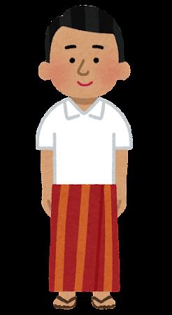 サロンを着た男性のイラスト(民族衣装)