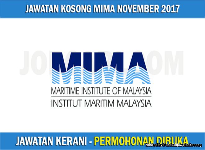 Jawatan Kosong Institut Maritim Malaysia (MIMA)