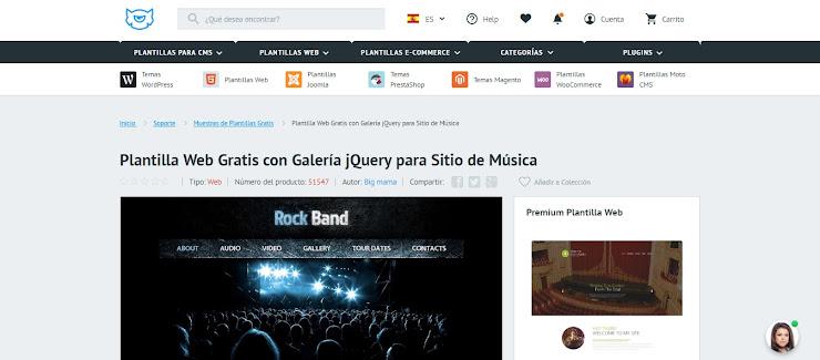 Plantilla Web Gratis con Galería jQuery para Sitio de Música