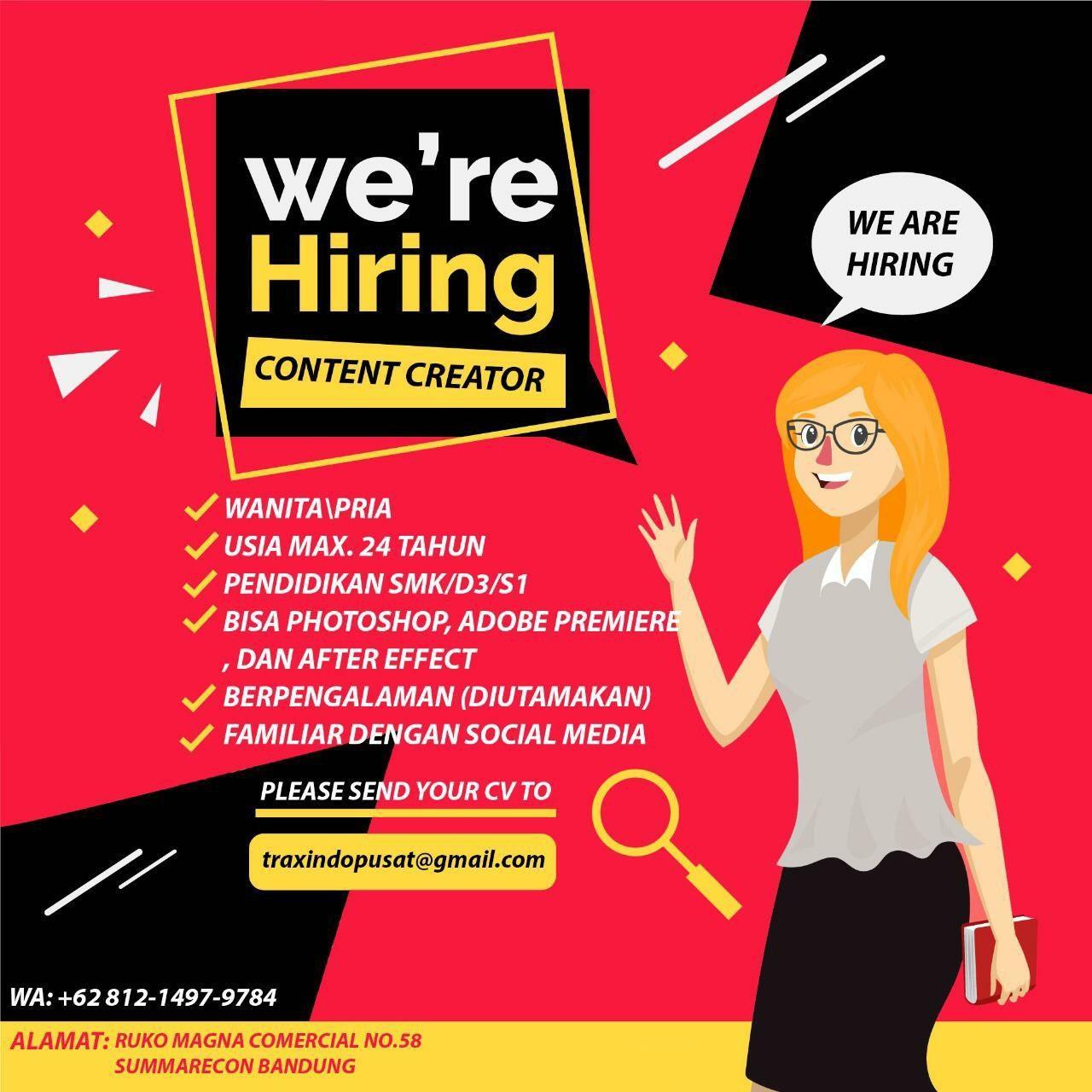 Lowongan Kerja Content Creator Traxindo Bandung Januari 2020