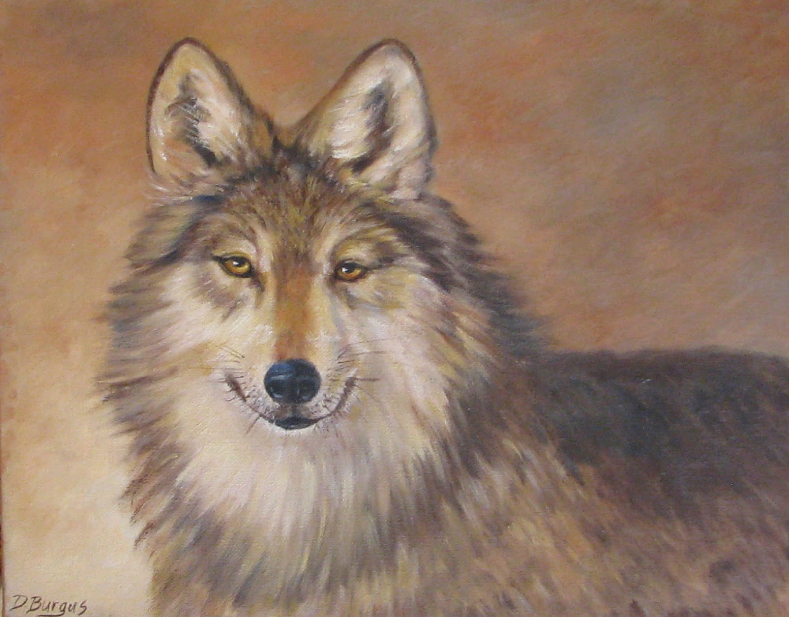 Art Helping Animals: Wildlife Wolf Oil Painting by Della ...