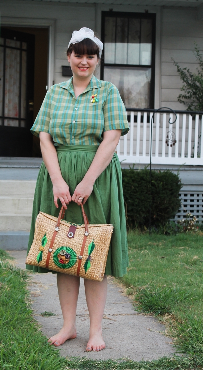 1950s plaid blouse, 1950s green skirt, novelty brooch, vintage country style