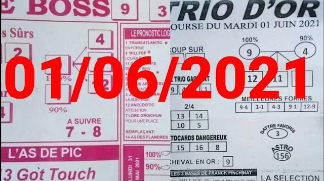 Pronostics quinté+ pmu Mardi Paris-Turf TV-100 % 01/06/2021