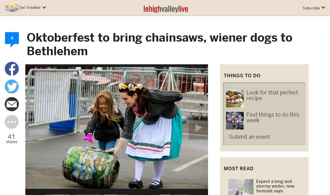 Oktoberfest wiener dog dachshunds chainsaws bethlehem