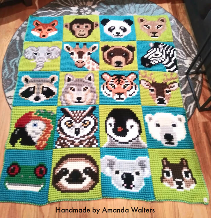 Wildlife Graphghan worked with the Bobble Single Crochet Stitch