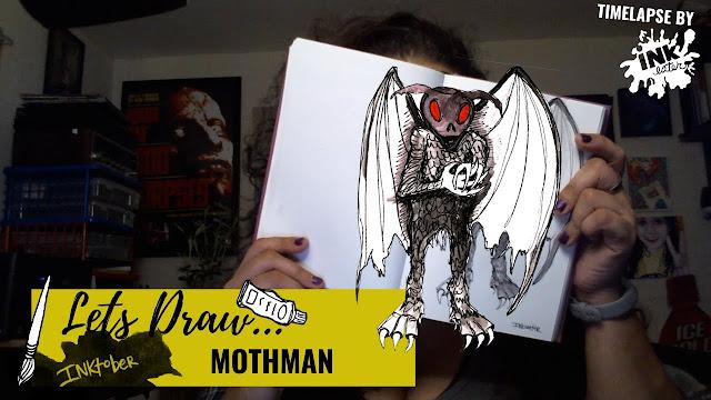 Drawing the Mothman - Exploring Cryptids Worldwide | Inktober