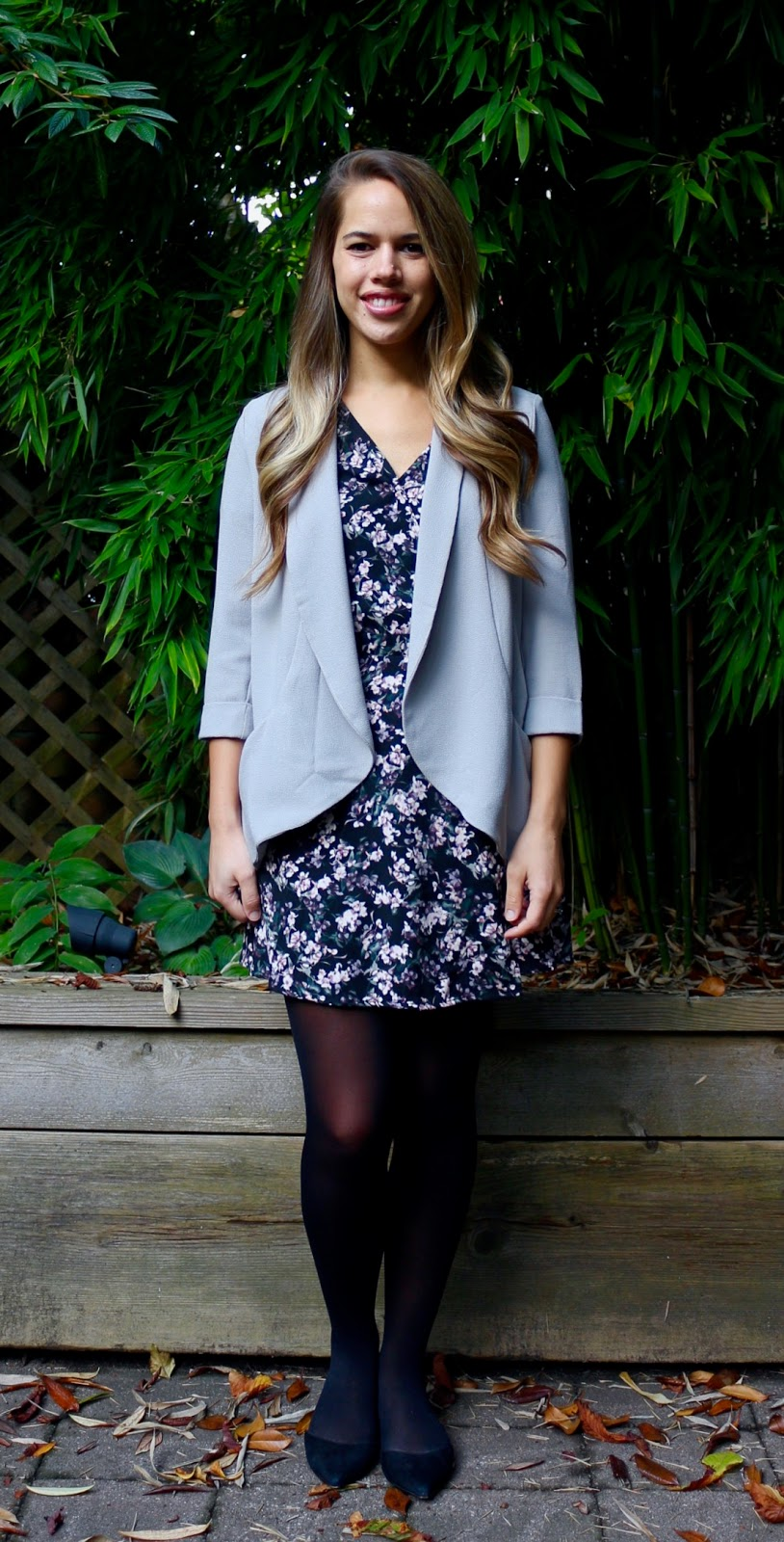 Jules in Flats - Floral Wrap Dress with Blazer (Business Casual Fall Workwear on a Budget)