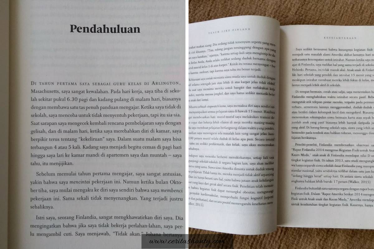 Paragrap pertama dan isi buku Teach Like Finland