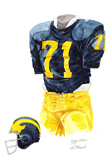 1973 University of Michigan Wolverines football uniform original art for sale
