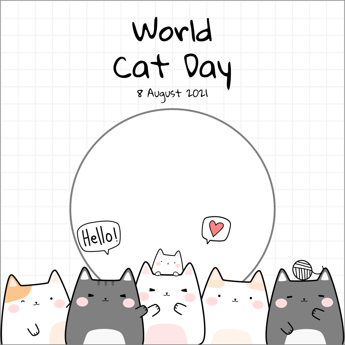 Link Download Background Frame Twibbon World Cat Day 8 August 2021 - Twibbonize