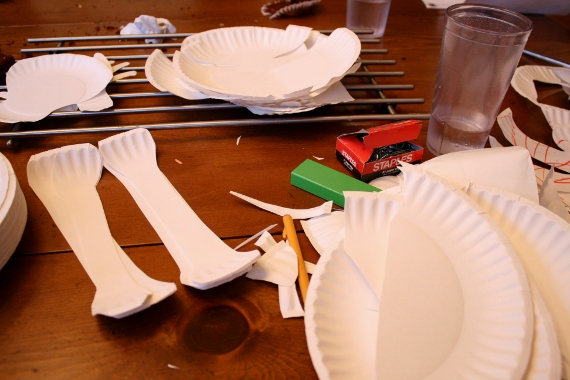 Now you can tie the joints together with string or twine but I decided to go the lazy way and just staple them together where I wanted joints to work I ... & Remodelaholic | Paper Plate Skeleton; Kids Craft!