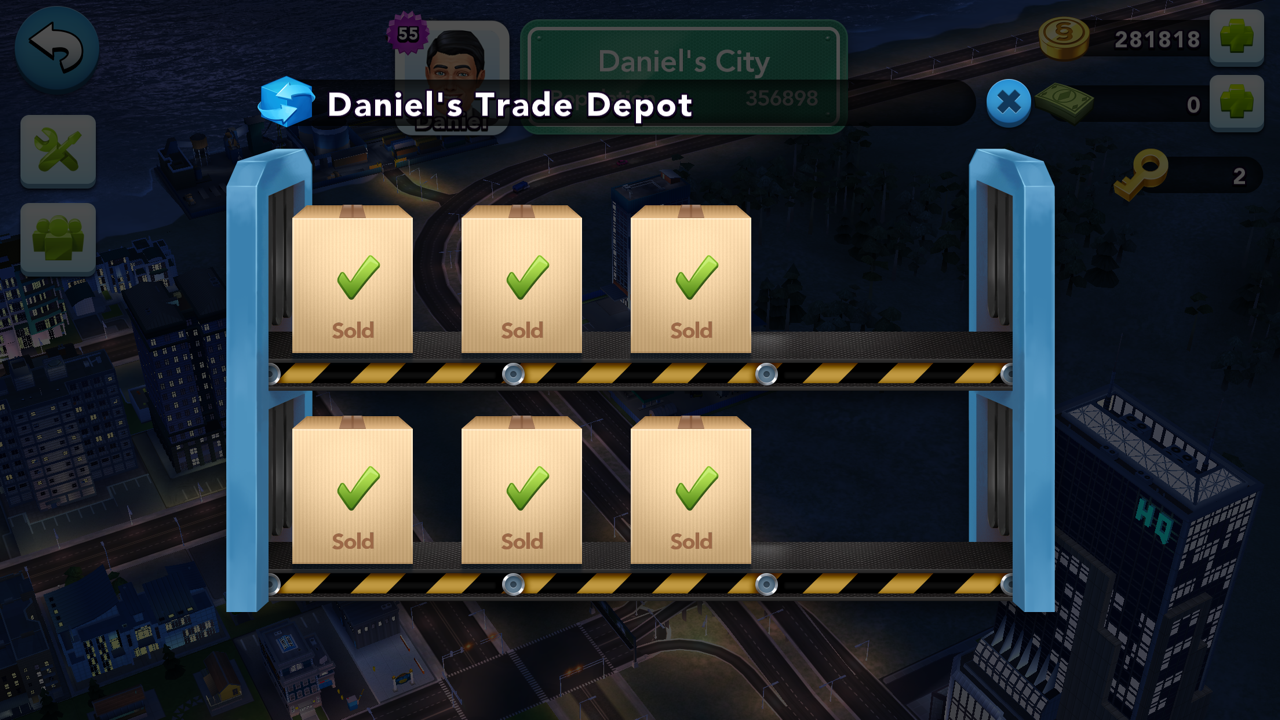 Buying All Items from Mayor Daniel's Trade Depot Every 24 Hours in SimCity BuildIt