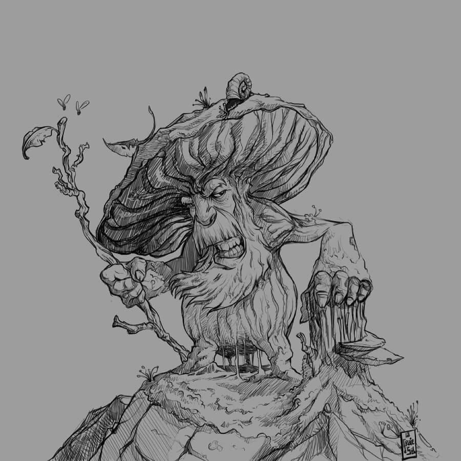 09-The-wood-creature-Sebastien-Drillon-www-designstack-co