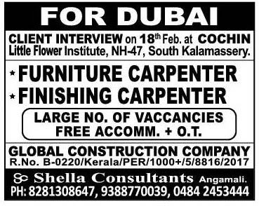 furniture carpenter job dubai