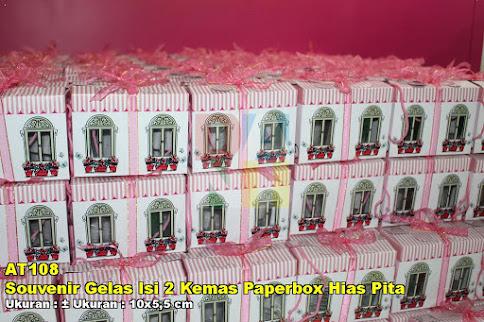 Souvenir Gelas Isi 2 Kemas Paperbox Hias Pita