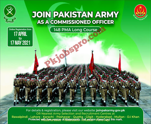 Join Pak Army Jobs 2021 as Commissioned Officer 148 PMA Long Course