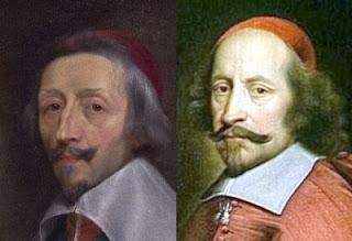 O cardeal Richelieu à esquerda, apoiou a Catalunha e ao mesmo tempo obrigou-a a ficar na dependência da França. O Cardeal Mazarin, à direita, assinou a paz em nome da França e abandonou a Catalunha à sua sorte.