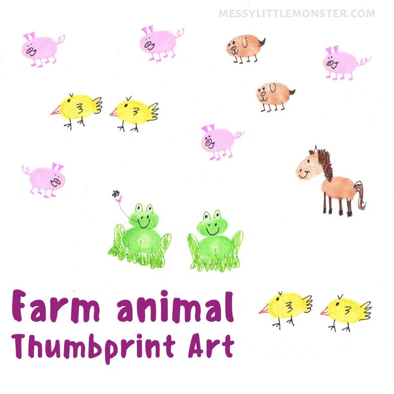 farm animal fingerprint craft for kids