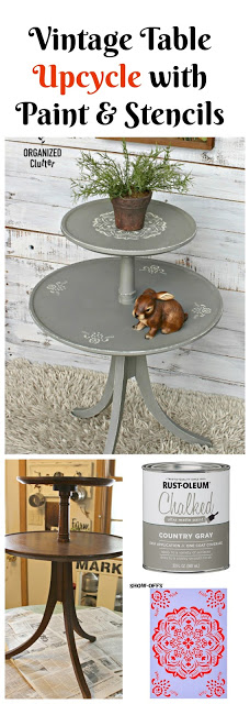 Upcycled Two Tiered Vintage Table #ChalkedPaint #stencil #mandala