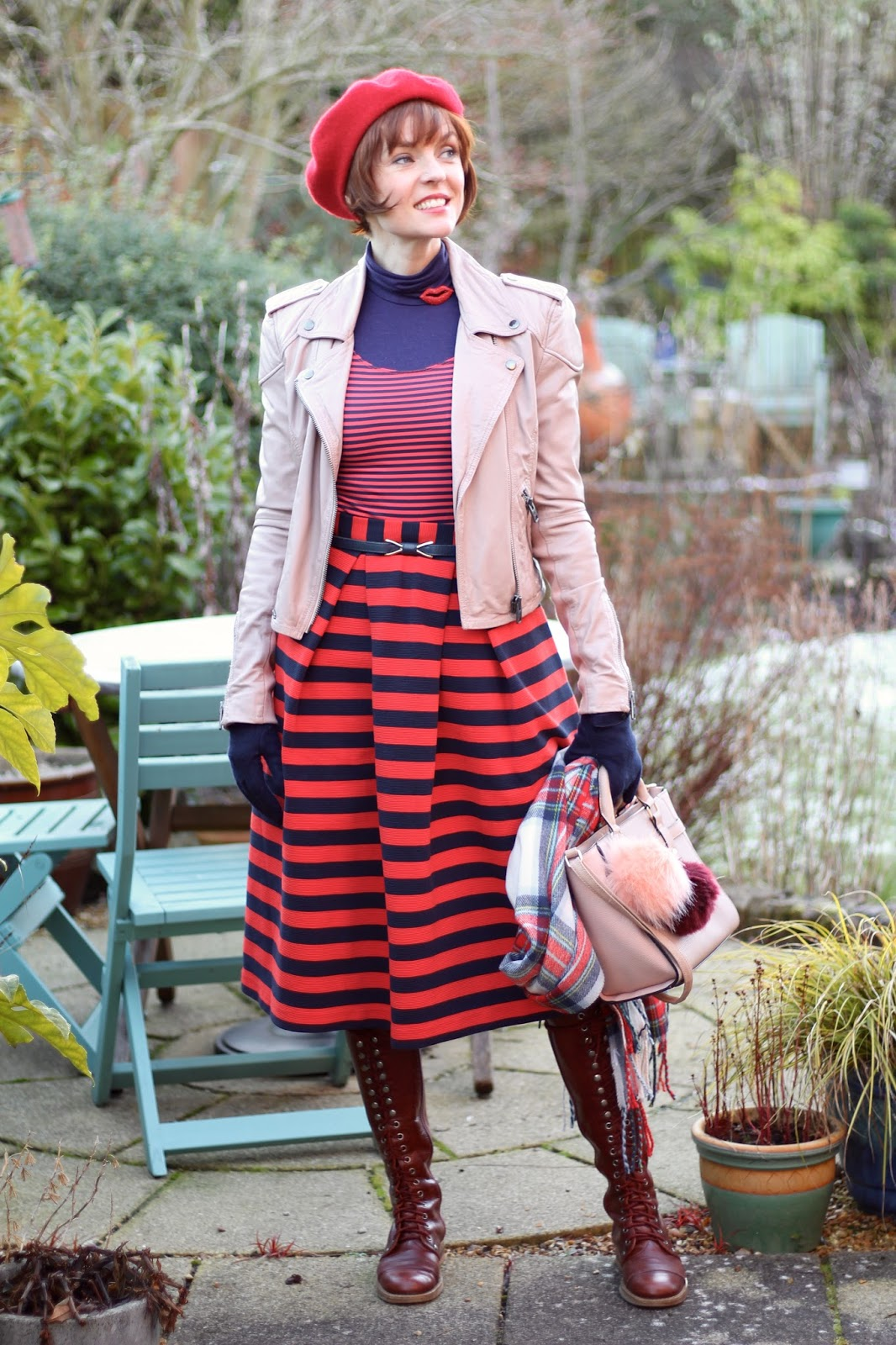 Striped Midi Skirt | Navy and Red | Nude leather Biker Jacket | Fake Fabulous