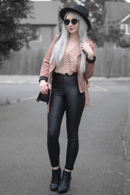Sammi Jackson - Primark Black Fedora / Zaful Sunglasses / Primark Pink Suede Jacket / ASOS Sequin Bodysuit / Topshop Satin Jeans / Boy Chanel Bag / Office Chunky Ankle Boots