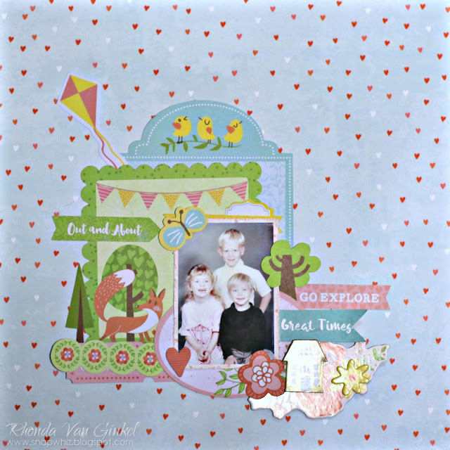 BoBunny One Layout Three Ways featuring Weekend Adventures and Pentart Stencil Paste designed by Rhonda Van Ginkel