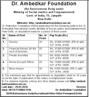 Dr Ambedkar Foundation Job Vacancies