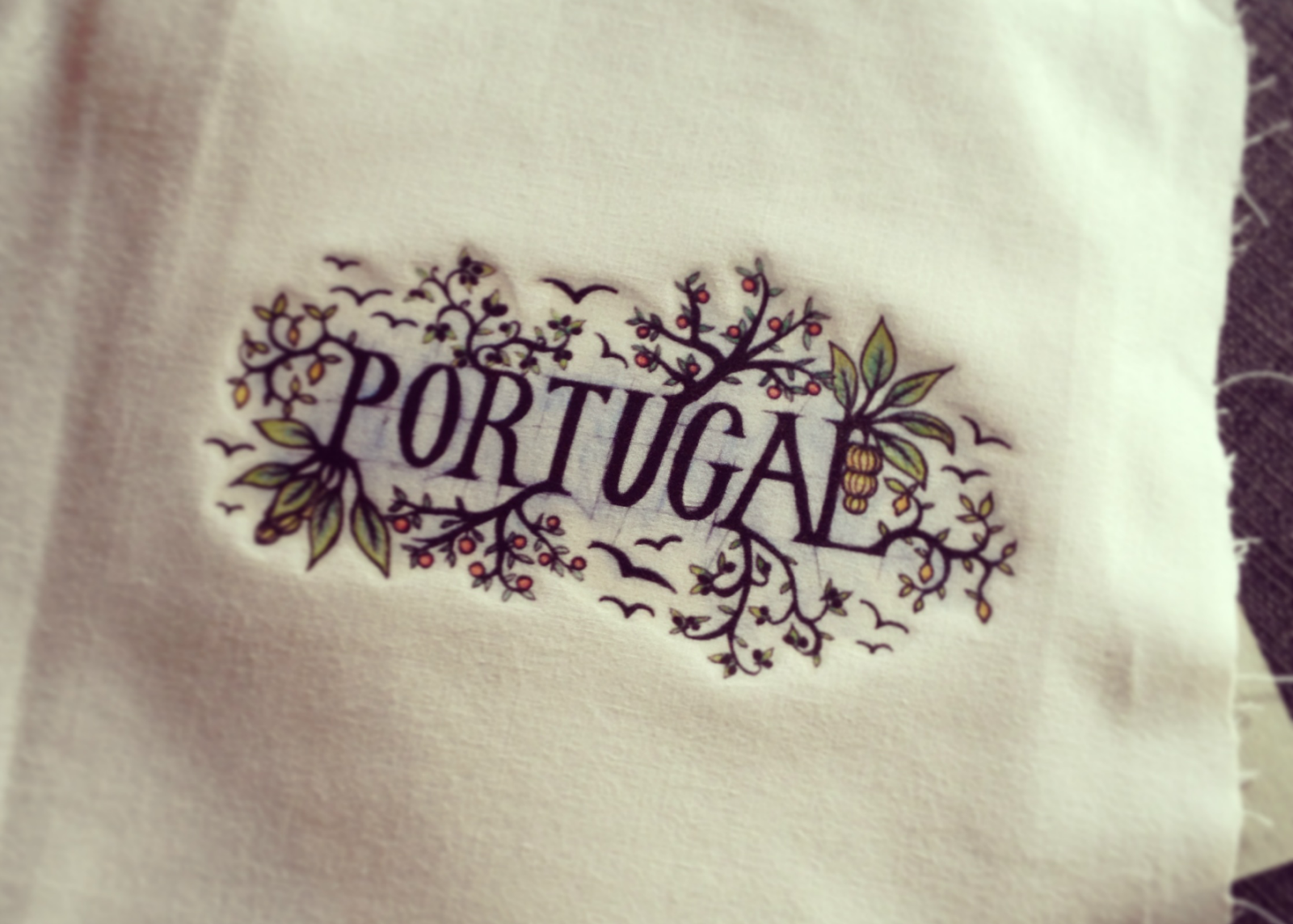 Portugal biro watercolour illustration transfer cotton iron