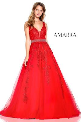v-plunging Prom dresses Amarra Red Color