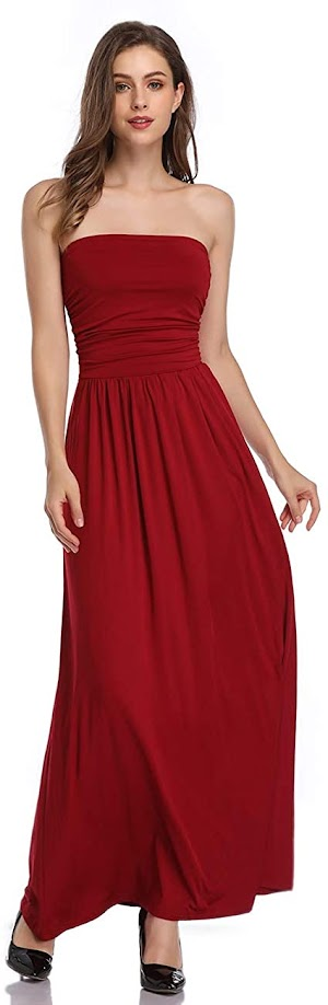 Hot Red Strapless Maxi Dresses