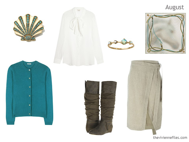 cardigan, blouse and skirt outfit in teal, ivory and beige