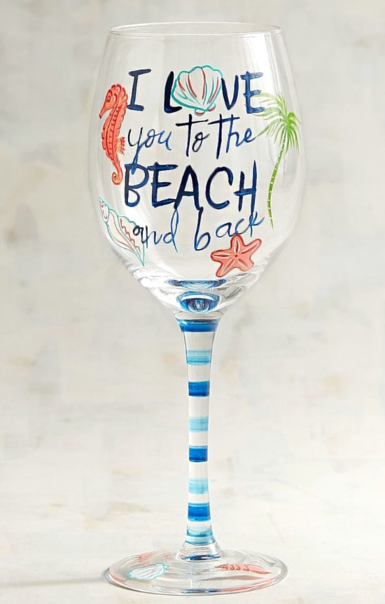 Painted Wine Glass with Beach Quote