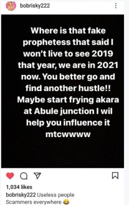 """Fake Prophetess"" – Bobrisky mocks prophetess who claimed he wont see 2019"