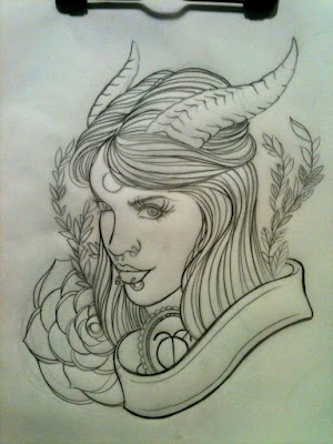 Woman Tattoos design with horn