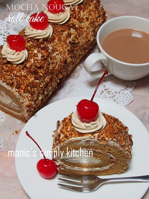 resep mocha nougal roll cake