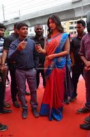 Puja Hegde looks stunning in Red saree at launch of Anutex shopping mall ~ Celebrities Galleries 119.JPG