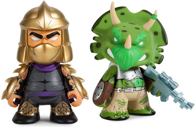 "San Diego Comic-Con 2016 Exclusive Teenage Mutant Ninja Turtles Gold Shredder & Green Triceraton 7"" Vinyl Figures by Kidrobot"
