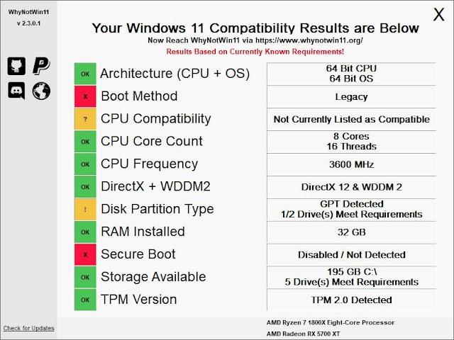 WhyNotWin11 : un logiciel portable pour savoir si votre ordinateur est compatible avec Windows 11