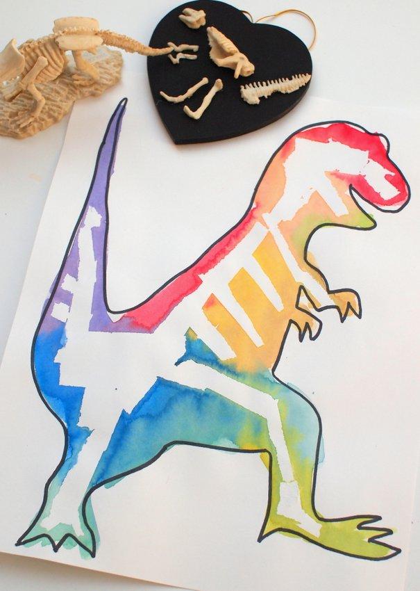 Tape resist dinosaur bone art and our favorite 10 for Dinosaur crafts for preschool