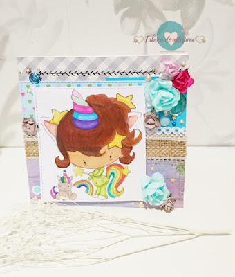 Tarjeta unicornio pijama y peluche con ramita blanca 1