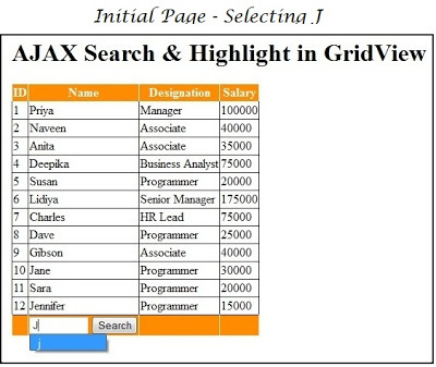 Ajax Search in Grid View